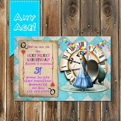 Alice in Wonderland Invitation Alice in by MyPrintablePartyLine