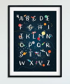 Space wall art, kids alphabet print, space nursery, printable wall art - ALL ABOUT Space Themed Nursery, Nursery Room Decor, Nursery Themes, Nursery Prints, Outer Space Nursery, Nursery Ideas, Room Themes, Room Ideas, Wall Ideas