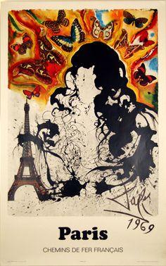 Affiche Salvador Dali Paris SNCF 1969 - www.french-vintage-posters.fr