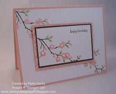 "Gorgeous card by Patty Gorka, featuring the Stampin' Up! stamp set ""Garden Silhouettes"".  ♥ the diagonal branch layout."