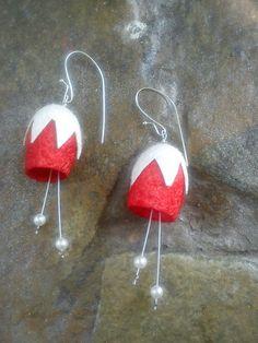 handmade silk cocoons earrings No68