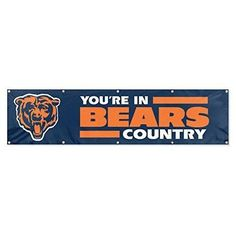Nfl Bears Flag 8 X 2 Feet Football Themed Team Color Logo Outdoor Hanging Banner FlagGift FanFan Merchandise Athletic Spirit Navy Blue Orange Nylon