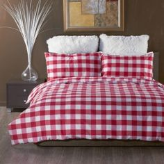 GINGHAM RED QUILT COVER