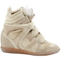 Pre-owned Isabel Marant Beckett Trainers ($180) ❤ liked on Polyvore featuring shoes, sneakers, beige, women shoes trainers, beige suede shoes, hidden wedge sneakers, velcro strap sneakers, rubber sole shoes and perforated shoes