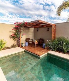 If you are working with the best backyard pool landscaping ideas there are lot of choices. You need to look into your budget for backyard landscaping ideas Backyard Pool Designs, Small Backyard Pools, Swimming Pools Backyard, Swimming Pool Designs, Backyard Landscaping, Backyard Pergola, Landscaping Ideas, Pergola Roof, Small Patio