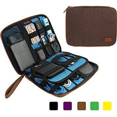 Khanka Portable Universal Electronics Accessories Travel Organizer / Various Usb Cable, Phone, Charger, Hard Drive Case / Flash Disk / Portable Power Bank Case Bags (Large-Brown)