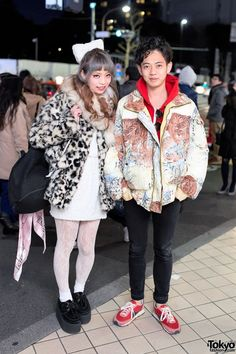 We met Saaya Hayashida and Hiroshi on the street in #Harajuku. Saaya is the producer of the Japanese fashion brand Swankiss. She's wearing a resale coat with lace tights, GVGV creepers & a Chanel bag. Hiroshi is wearing all resale fashion, including his tiger print jacket. You can see their full looks here. #tokyofashion #streetsnap