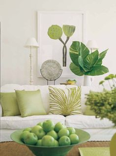 Greenery - Pantone color of the 2017 year - used as an accent for decorating a bright interior.