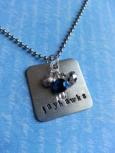 Kansas Jayhawks Necklace  Hand Stamped  by FreeToBeCreations, $15.99