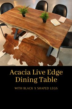 The Clyde dining table is a freeform table made out of solid acacia wood. Elements Of Nature, Live Edge Table, Wood Tables, Acacia Wood, Solid Wood, Living Spaces, Dining Table, Shapes, Natural
