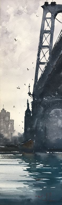 """""""The Bridge to Williamsburg,"""" by Daniel Marshall, watercolor, 21 1/2 x 6 1/4 in."""