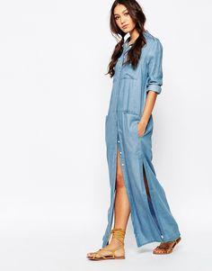 Imagen 1 de Vestido largo camisero en denim de cambray Utility de Daisy Street