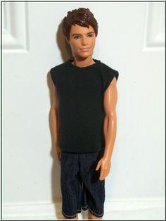 Ken Doll Clothes Black Stretch Knit Tank by BarbieBoutiqueBasics