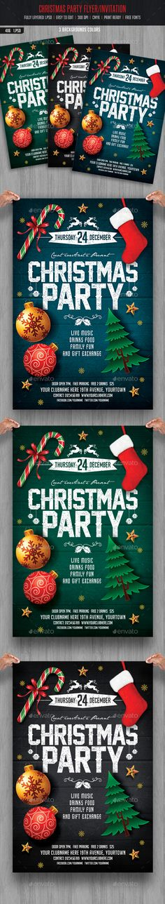 Christmas Holiday Flyer V4 Christmas holidays, Flyer template and - Invitation Flyer Template