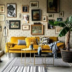 If You Read Nothing Else Today, Read This Report on Modern Bohemian Living Room Inspiration - Pecansthomedecor Retro Home Decor, Rooms Home Decor, Yellow Home Decor, Yellow Interior, Vintage Decor, Yellow Wall Decor, Mustard Yellow Decor, Yellow Art, Victorian Decor