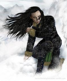 "Tom Hiddleston ""Loki"" Fan art By http://sybilramkin.deviantart.com/art/Loki-snow-539654875"