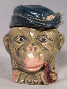 Vintage Majolica Figural Monkey With Pipe Green Hat Tobacco Jar Humidor