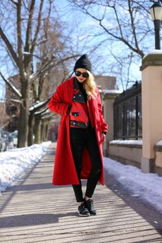 """Boss Lady"" Long Black Wig With Brown Highlights Red Coat Outfit, Street Chic, Street Style, Mantel Outfit, Black Wig, Black Beanie, Atlantic Pacific, Winter Wardrobe, Boss Lady"