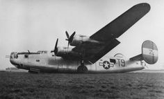 """A crashed 466th Bomb Group B-24 Liberator (T9-Z) of the 784th Bomb Squadron, 466th Bomb Group. Added Caption by 466th BG Historian: B-24J-401-CF #42-50488 """"Polaris II"""" Code: T9-Z 466th BG - 784th BS. This a/c survived the war, so whatever damage was done here was repaired and the a/c remained in service."""