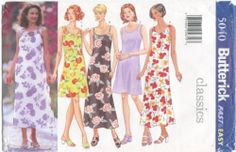 Butterick 5040 Misses Dresses size 14-16-18. above knee or ankel length, spaghetti strap or full size tank dress with darts