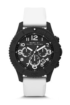 Marc by Marc Jacobs. The Rock Chronograph. 46mm black silicone case with black IP stainless steel back, silicone strap, Japanese quartz movement. Good summer watch, available at Nordstrom Rack for $118.97.