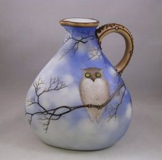 Antique Nippon Wine Jug Owl on Branch with Glass Eyes Green Mark | eBay