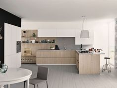 Fitted kitchen with peninsula MAXIMA 2.2 - COMPOSITION 4 by Cesar Arredamenti design Gian Vittorio Plazzogna
