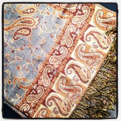Gold and Gray Paisley Scarf Pashmina Women by LePetitMonkey, $29.99