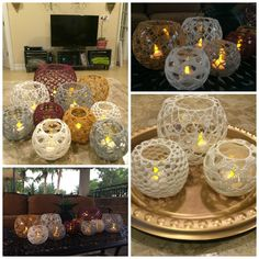 Budding Lotus Sampler Lace Crochet Candle Holders FREE Patterns
