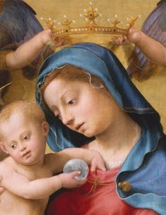Painting by Giuliano di Piero di Simone Bugiardini (1475-1554 Florence), ca. 1510-15, Madonna and Child Enthroned..., tempera and gold on wood. (Detail)