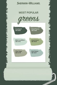 bathroom paint colors sherwin williams most popular Sage Green Paint, Green Paint Colors, Paint Colors For Home, Room Colors, Wall Colors, Popular Paint Colors, House Paint Exterior, Exterior Paint Colors, Exterior House Colors