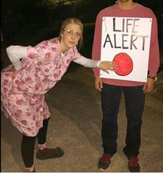 halloween costume elderly with life alert button