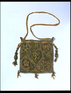 Purse Place of origin: England, Great Britain Date: Materials and Techniques: Linen, embroidered with silver-gilt and silk thread in tent, Gobelin and plaited braid stitches Museum number: Vintage Purses, Vintage Bags, Vintage Handbags, Sweet Bags, Embroidered Bag, Beaded Bags, Victoria And Albert Museum, Wool Applique, Purses