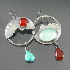 lakes and mountains turquoise chalcedony carnelian sterling silver earrings - chalcedony earrings - turquoise earrings - landscape earrings, NRjewellerydesign