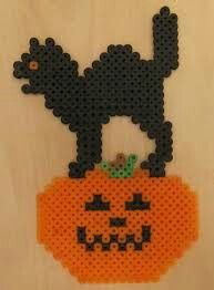 Cat on a Pumpkin Perler Beads