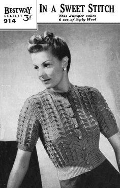 Vintage Ladies Jumper Knitting Pattern 1940/1950 by LittleJohn2003