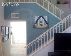A escada ganha vida com o painel de madeira. O melhor é que pode ser feito com madeira, vinil auto-adesivo e papel de parede com outras estampas. Uma solução rápida e criativa de renovar um ambiente. Daqui.