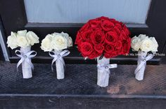 Classic rose bouquets with lots of bling!  Flowers for Special Occasions #omaha #weddingpictures #bouquetideas   www.inhisimageweddings.com