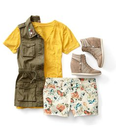 Pairing a military jacket with floral prints is the perfect combo for back-to-school style. @jcpenney