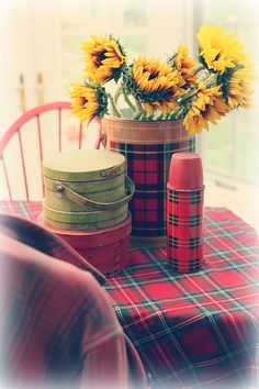 Tartan Scarf or Light Blanket makes a great Table Cover for time spent outdoor ... a cup of coffee together perhaps ...