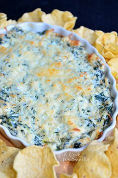 Hot Spinach Artichoke Dip from willcookforsmiles.com #dip #appetizer