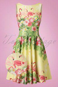 50s Tea Flamingo Swing Dress in Light Yellow