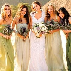 love the different shades of bridesmaids dresses