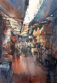 Direk Kingnok Watercolor artist - Shops in Yaowarat, Bangkok. 36 x 50 cm.