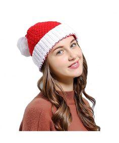 9fb842a998e28 Women Christmas Beanie Hat Winter Warm Knitted Crochet Santa Hat Gift Santa  CT186AZ52L9