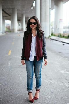 trending: the varsity jacket - burgundy varsity jacket with leather sleeves, worn with white button up shirt + boyfriend jeans and matching burgundy red heels