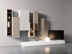Parete attrezzata fissata a muro con porta tv SPAZIO S450 by PIANCA