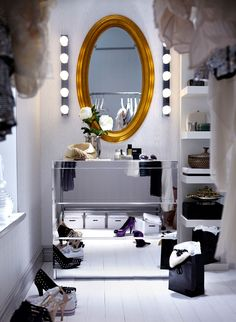 IKEA  Malm mirrored chest of drawers with Levanger mirror and Lack wall shelf :)
