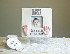 Baby Hand & Footprint Photo Frame by TheBabyHandprintCo on Etsy