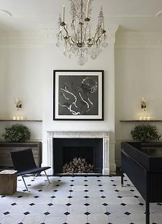 Rose Uniacke - Interiors - Jo Malone Headquarters, London - Note to Sara E! for wood arrangement in fireplace!
